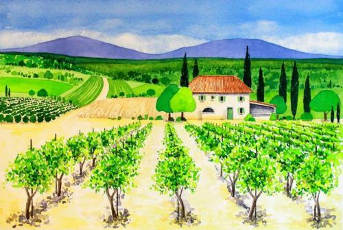 Landschaft in der Toskana (Aquarell), HOPP´s MAL KUnstschule