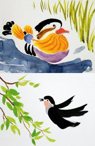 Enten inspiriert durch chinesische Tuschezeichnungen, HOPP´s MAL Kunstschule