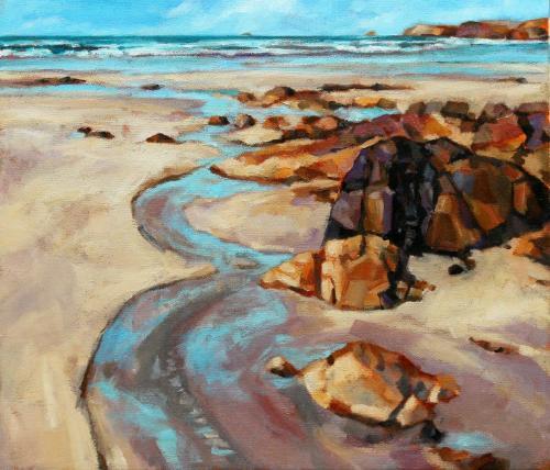Am Strand (Öl auf Leinwand), HOPP´s MAL Kunstschule