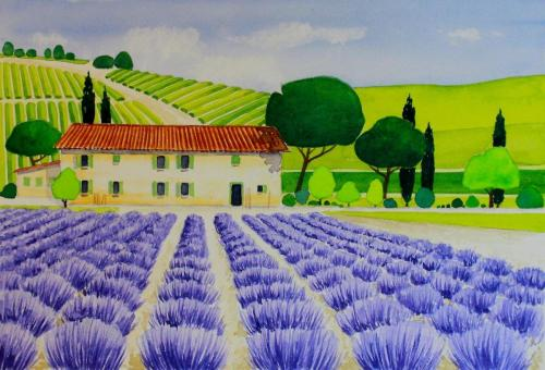 Lavendelfeld (Aquarell), HOPP´s MAL Kunstschule