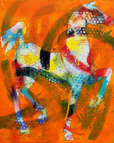 Pferd, abstrahiert (Acryl auf Leinwand), HOPP´s MAL Kunstschule