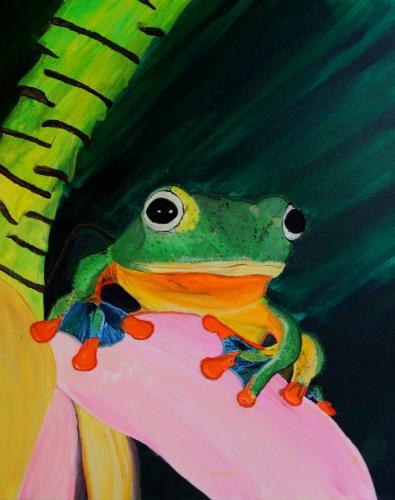 Frosch (Acryl auf Leinwand mit Stickerei), HOPP´s MAL Kunstschule