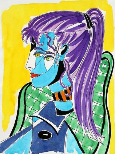 Frauenporträt nach Picasso (Aquarellfarben und Tusche auf Papier), HOPP´s MAL Kunstschule