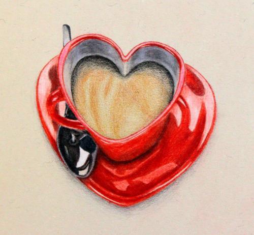 Herzenstasse (Buntstift auf Papier), HOPP´s MAL Kunstschule