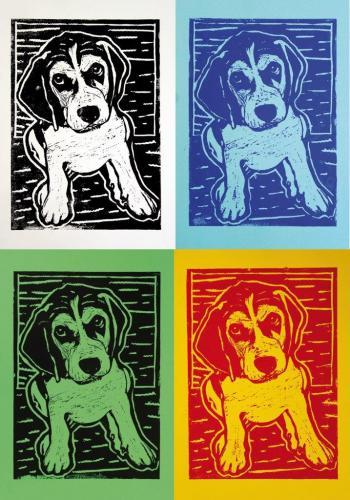 Hunde (Linoldruck), HOPP´s MAL Kunstschule