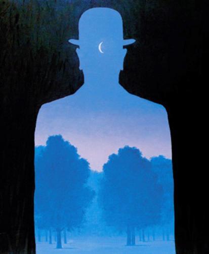 Herr im Park nach René Magritte (Acryl auf Papier); HOPP´s MAL Kunstschule