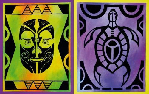 Maske und Zeichen inspiriert durch die Kunst der neuseeländischen Maori (Acryl auf Papier), HOPP´s MAL Kunstschule