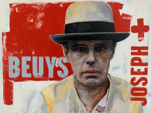 Beuys, Collage (Fotos, Acrylfarbe auf Malkarton), HOPP´s MAL Kunstschule