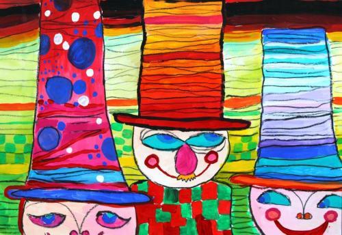 Herren mit Hüten, Acrylfarbe auf Papier nach Friedensreich HUndertwasser, HOPP´s MAL Kunstschule