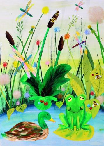 Am Teich (Acryl und Öl-Pastellkreiden auf Papier), HOPP´s MAL KUnstschule