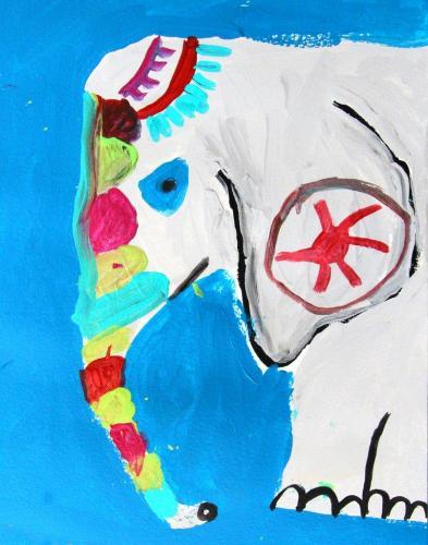 Geschmückter Elefant, Acryl auf Papier, HOPP´s MAL Kunstschule