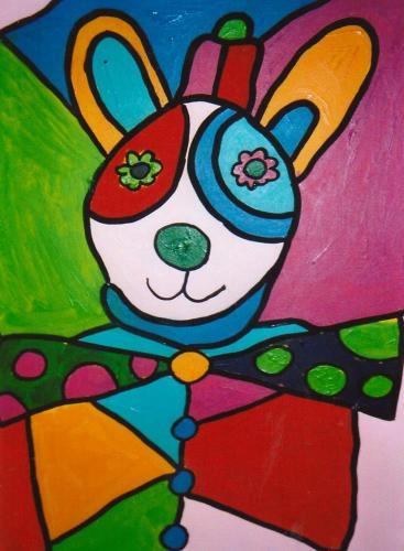 Farbenfrohe Figur in Anlehnung an Otmar Alt (Acryl auf Leinwand), HOPP´s MAL Kunstschule