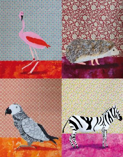Tiere im Wohnzimmer, Collage (Acrylfarbe und Geschenkpapier auf Papier), HOPP´s MAL Kunstschule