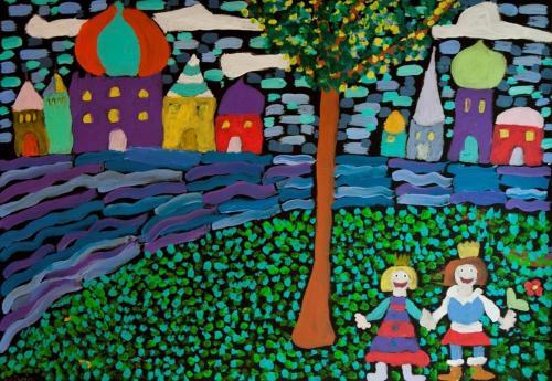 Personen am Fluss (Acryl auf Tonkarton) in Anlehnung an Werke von Wassiliy Kandinsky gestaltet, HOPP´s MAL Kunstschule