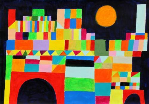 Stadt aus geometrischen Formen nach Paul Klee (Acryl auf Papier), HOPP´s MAL Kunstschule