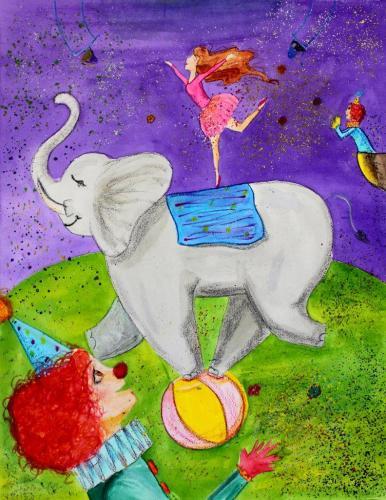 Im Zirkus (Acrylfarbe und geschmolzene Öl-Pastellkreide), HOPP´s MAL Kunstschule