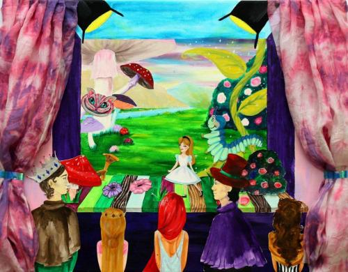 Theaterbühne, Collage (Acrylfarbe auf Leinwand, Pappe, Buntstifte, Stoff), HOPP´s MAL Kunstschule