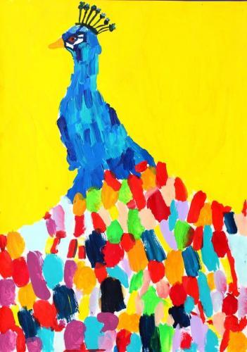 Pfau (Acryl auf Leinwand), HOPP´s MAL Kunstschule