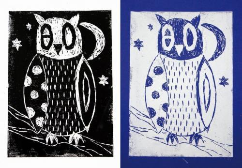Eulen (Linoldruck); HOPP´s MAL Kunstschule