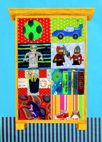 Regal mit Spielzeug, Collage (Acryl, Geschenkpapiere, Buntstifte, Filzstifte auf Papier), HOPP´s MAL Kunstschule